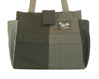 Jacob  #2317 - Recycled Large Tote - Repurposed Suit Bag - Handmade Handbag - Upcycled Tote Bag - Travel Bag - Everyday Tote - Laptop Bag