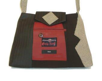 Alexander #2817 Recycled Suit Coat Handbag Everyday Shoulder Bag Medium Size Upcycled Handbag Ecofriendly Gift for Her Repurposed Suit Purse