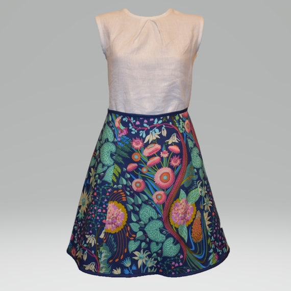 Australlian Flowers Quilting Cotton Skirt Aline With Flare With Binding Invisible Zip Anna Maria Horner Sweet Dreams Source Code Navy