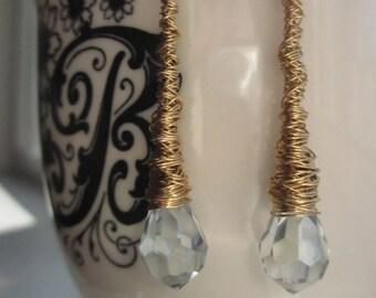 Gold Wrapped Swarovski Crystal Teardrop Earrings