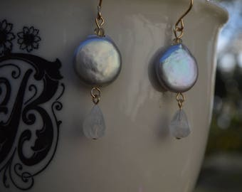 Silver Coin Pearl and Moonstone Drop Earrings