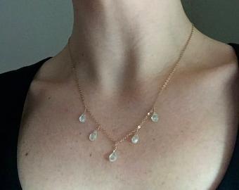 Droplets: Semi-Precious Briolettes on thin gold chain