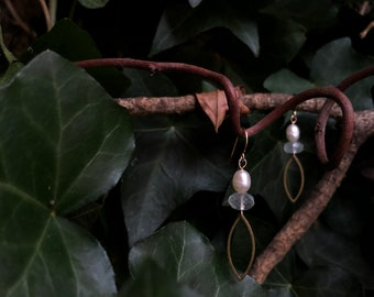 Frosted Winter Leaf Earrings with Pearl, Aquamarine, and Brass