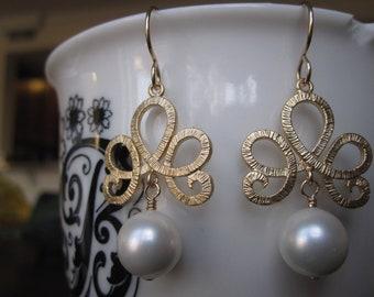 Gold Tiara and South Sea Pearl Drops