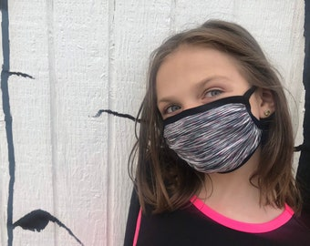 CHILD SIZES: Double layer stretch masks - comfortable, breathable, quick dry, wicking, adjustable ear loops, integrated neck tie lanyard
