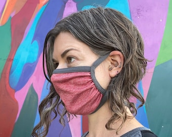 SET of 3 Double Layer Face Masks: adjustable ear loops + integrated neck ties, comfortable, breathable, moisture wicking