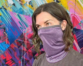 Deluxe lightweight neck gaiter with Noseband & Earloops in SPF-50 Chitosante: Single or Double layer, choose your color