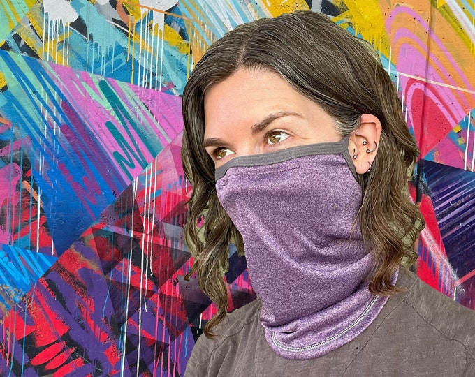 Featured listing image: Deluxe lightweight neck gaiter with Noseband & Earloops in SPF-50 Chitosante: Single or Double layer, choose your color