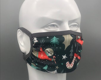 SLOTHY HOLIDAYS mask: Adjustable ear loops, neck strap, lightweight, moisture wicking stretch fabric