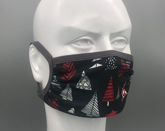 CRIMSON TREES holiday mask: Adjustable ear loops, neck strap, lightweight, moisture wicking stretch fabric