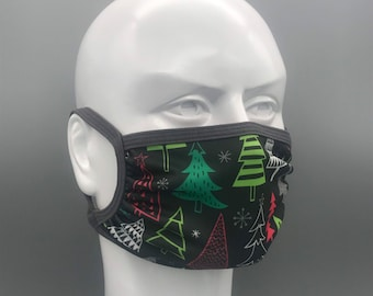 NEON TREES holiday mask: Adjustable ear loops, neck strap, lightweight, moisture wicking stretch fabric