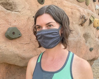 5 PACK Single Layer Sport Masks - cool, quick dry, breathable, fitness friendly, adjustable ear loops + integrated neck tie