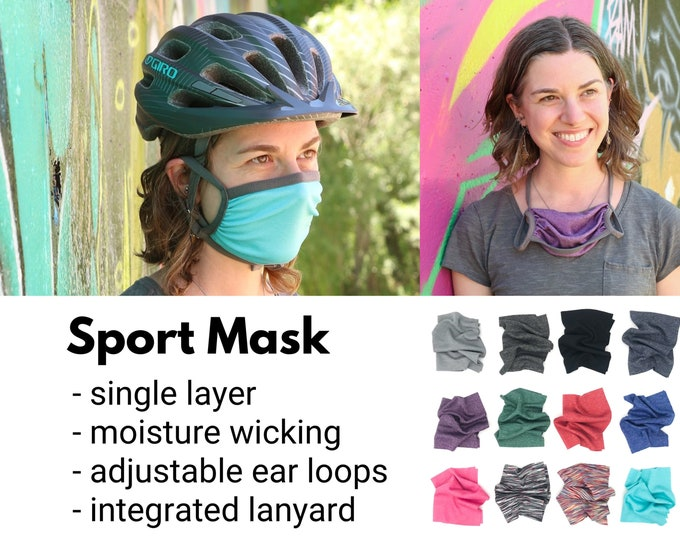 Featured listing image: Sport mask: Single layer, adjustable ear loops + integrated neck ties, comfortable, breathable, wicking, technical stretch fabric