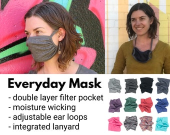 Everyday mask: Double layer, adjustable ear loops + integrated neck ties, filter pocket, comfortable, breathable, wicking, technical fabric