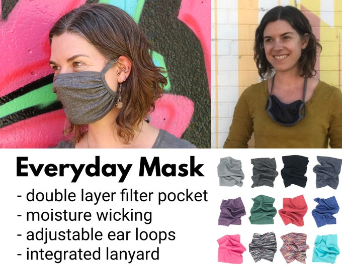 Featured listing image: Everyday mask: Double layer, adjustable ear loops + integrated neck ties, filter pocket, comfortable, breathable, wicking, technical fabric