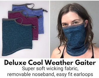 Deluxe Midweight Neck Gaiter with Noseband & Earloops for Cool Weather
