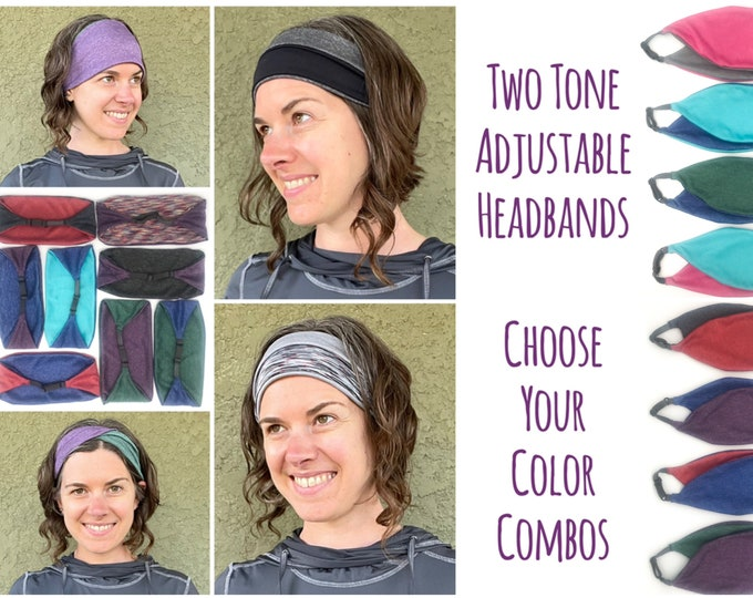 Featured listing image: Reversible Adjustable Wide Headband - Choose Your Colors | Sweat wicking for yoga, running, workout, hair styling, twist, fold, scrunch