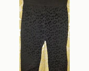 Black Leopard Cheetah Leggings Tights Pants, S/M Gothic