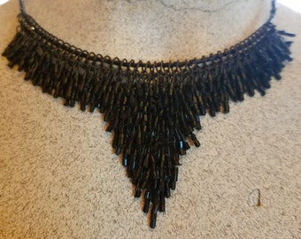 Black Beaded Choker Art Deco Gothic Victorian Vampire Necklace
