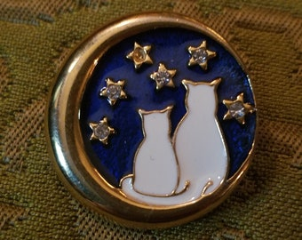 Vintage White Cat Gold Crescent Moon Stars Pin Brooch