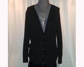 Vintage 90's Ladies Black Sweater Button Front Cardigan, Size Small