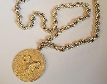 Vintage 1960's Aries Pendant Necklace, Ram Zodiac, Statement Jewelry