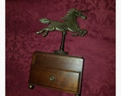 Vintage 1970 39 s Brass Wood Unicorn Music Box Jewelry, Plays quot Send in the Clowns quot