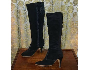 2690a8f93c Vintage 70's Knee High Black Suede Leather High Heel Go Go Boots, Size 7  1/2 7.5