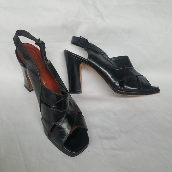 Vintage 1960's Black Leather Platform Sandals High