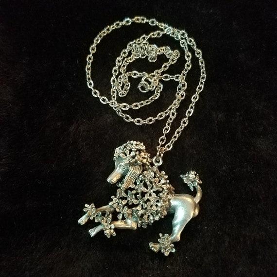 Vintage 1960's Poodle Pendant Necklace, Mid Centur