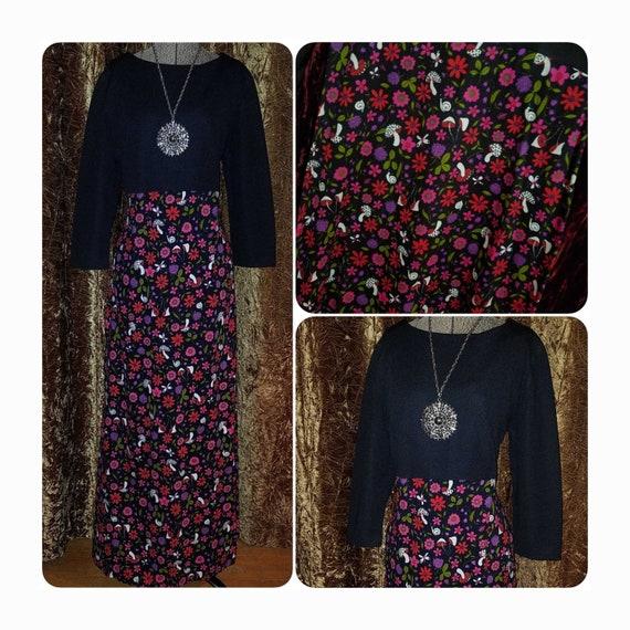 Vintage 1960's 70's Long Black Dress w/Mushroom Bu