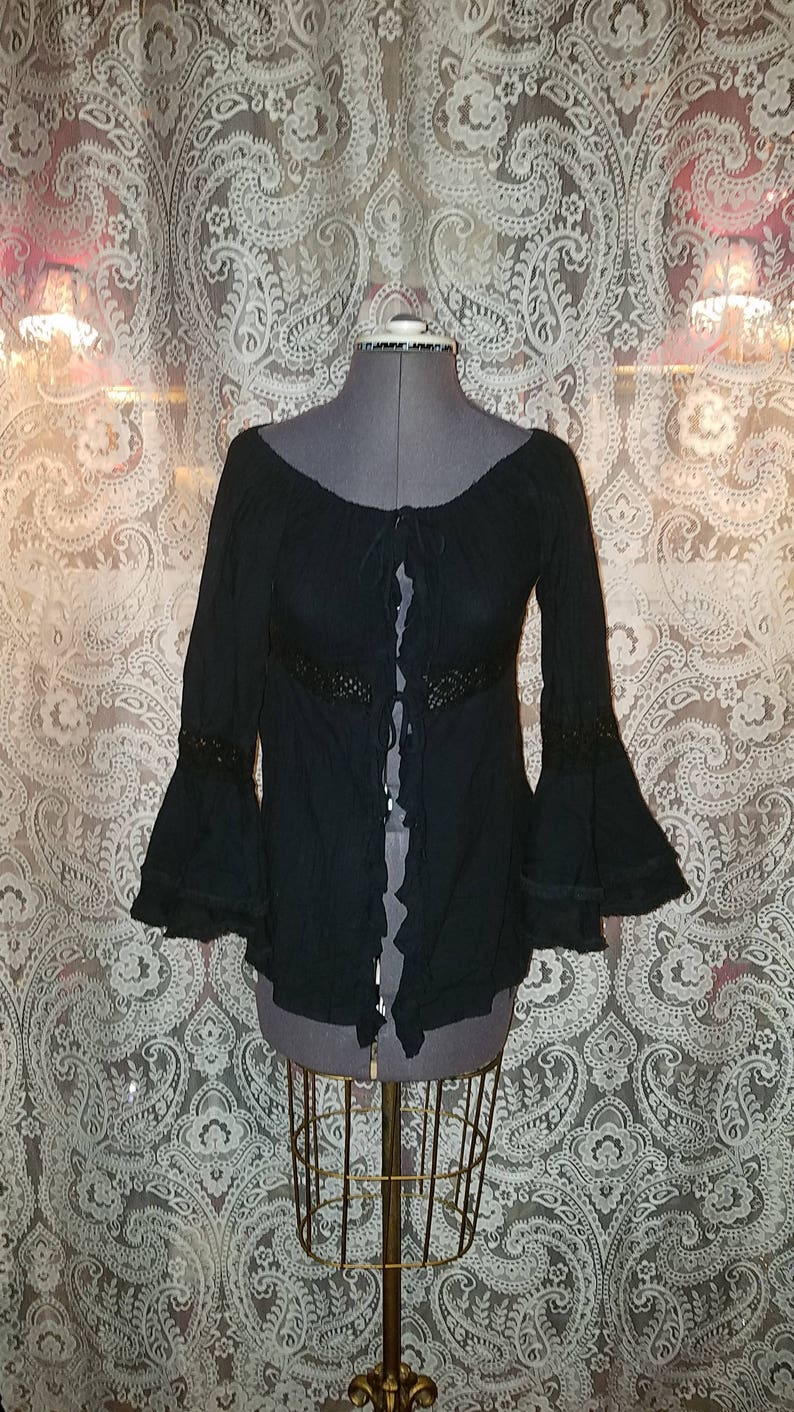 972738b19af Vintage Black Bell Sleeve Top Festival Blouse Size Small | Etsy