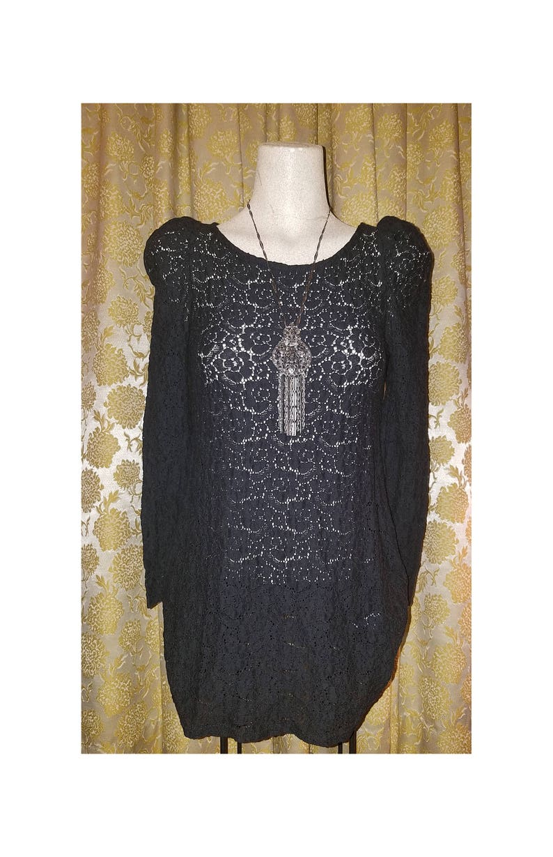 Witchy Small Vintage Gothic Black Lace See Through Top Blouse
