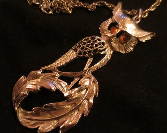 Vintage Great Horned Owl Necklace Huge Silver Feather Pendant