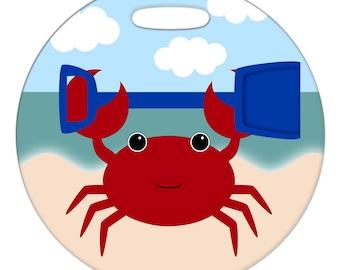 Luggage Tag - Crab - 2.5 inch or 4 Inch Round Plastic Bag Tag
