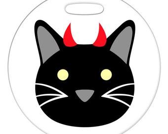 Luggage Tag - Devil Kitty - Round Plastic Bag Tag