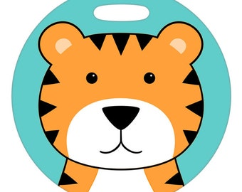 Luggage Tag - Tiger - 2.5 inch or 4 Inch Large Round Plastic Bag Tag