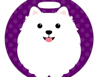 Luggage Tag - White Pomeranian - Round Plastic Bag Tag