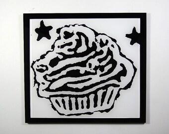 modern graffiti cupcake sculpture