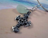 SAFE VOYAGE - Fleur-de-lis Cross and Real Sea Glass Necklace, Seaglass Pendant, Genuine Seaglass Necklace, Beach Jewelry, Christian, Silver