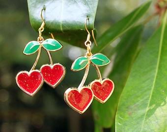 WILD CHERRY Earrings - Red Resin with Glitter Sparkles, Heart Shape, Gold, Green Leaves, Enamel