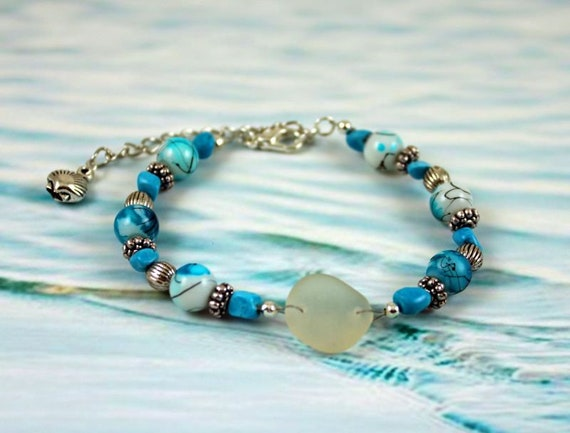 bbff0f772c7 MYSTIC SOUL Genuine Seaglass Bracelet with Turquoise