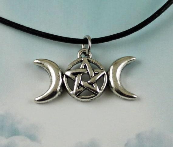 Triple Goddess Pentagram Leather Choker