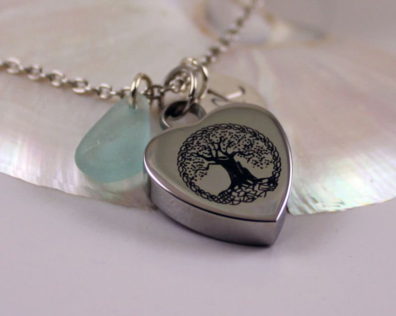ALTHOUGH-Real Blue Seaglass Cremation Urn Necklace Personalized Initial Charm,Memorial Pendant,Stainless Steel Engraved Heart Tree of Life