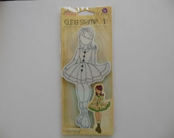 """Prima Mixed Media /""""Jing/"""" Doll Cling Stamps Julie Nutting 980191"""