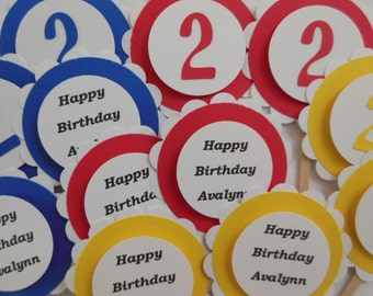 Personalized Happy Birthday Cupcake Toppers - Red, Yellow and Blue - Gender Neutral - Child Birthday Party Decorations