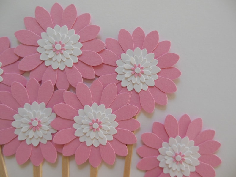 Girl Baby Showers Rose Pink and White Daisies Weddings Bridal Showers Flower Cupcake Toppers Girl Birthday Parties