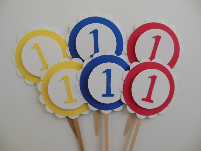 Yellow and Blue 1st Birthday Cupcake Toppers Gender Neutral Red Child Birthday Party Decorations Set of 6