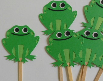 Frog Cupcake Toppers - Green Frogs - Birthday Party Decorations - Baby Shower Decorations - Set of 6