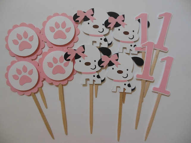 1st Birthday Puppy Dog Cupcake Toppers